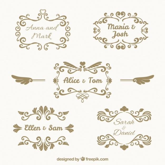 Pack de cinco marcos de boda vintage.