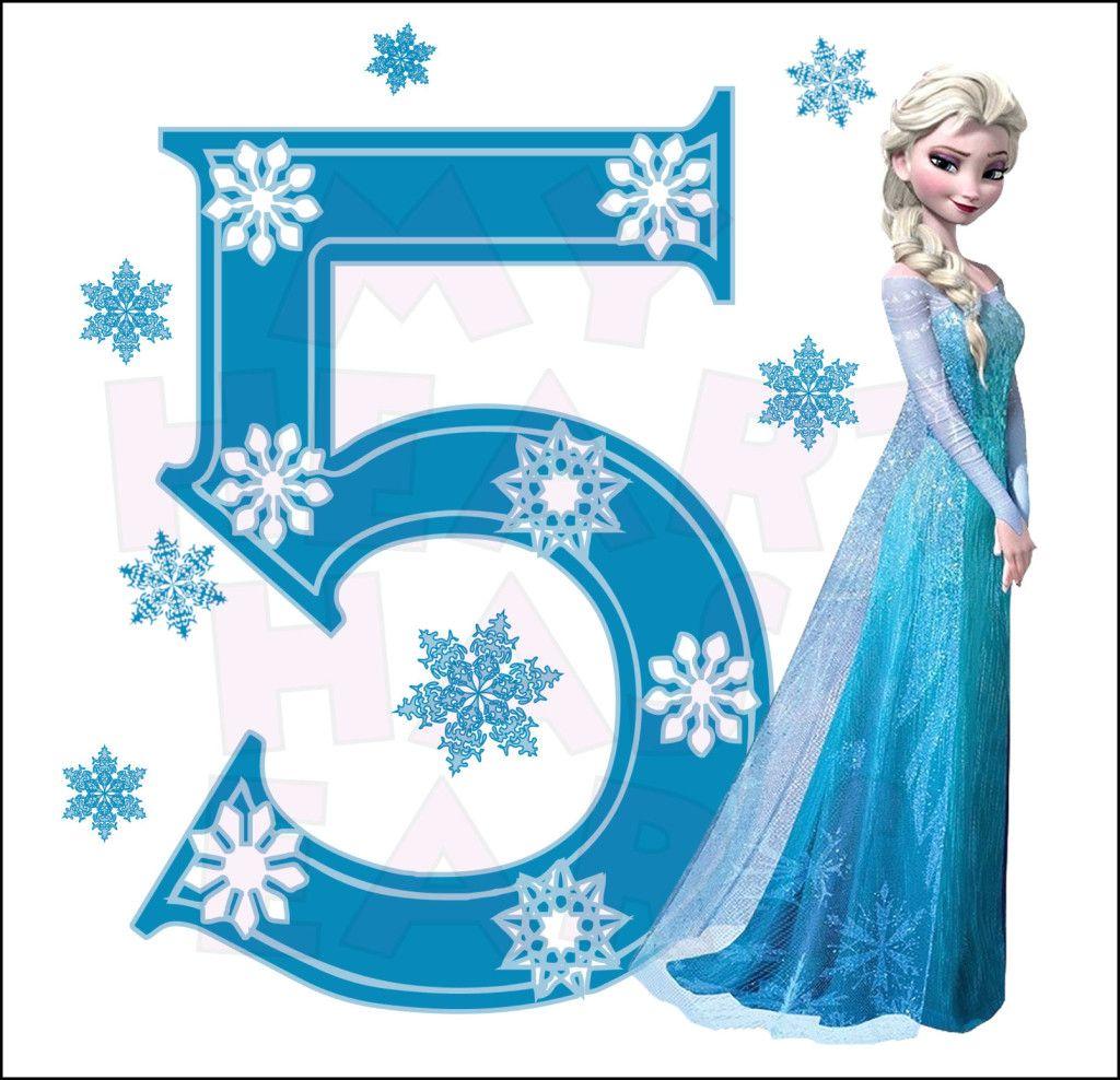 Disney\'s Frozen Elsa Birthday with number 5 INSTANT DOWNLOAD.