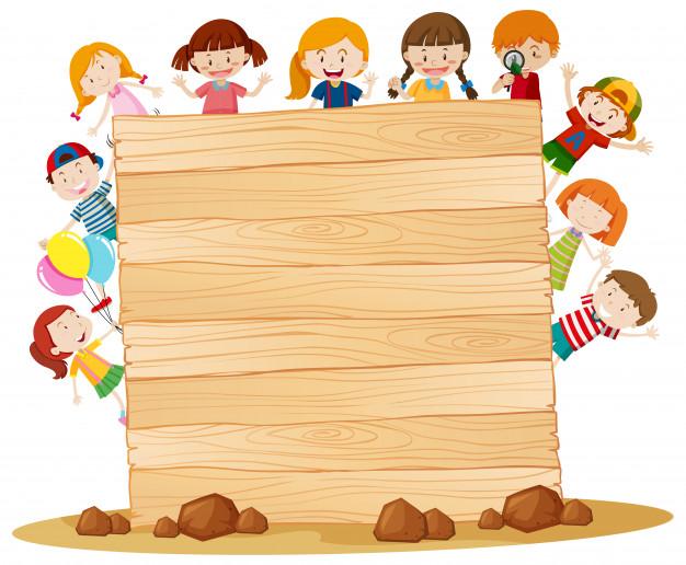 Marco con niños felices alrededor de tablero de madera.