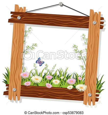 La plantilla de madera con flores y hierba. La plantilla de.