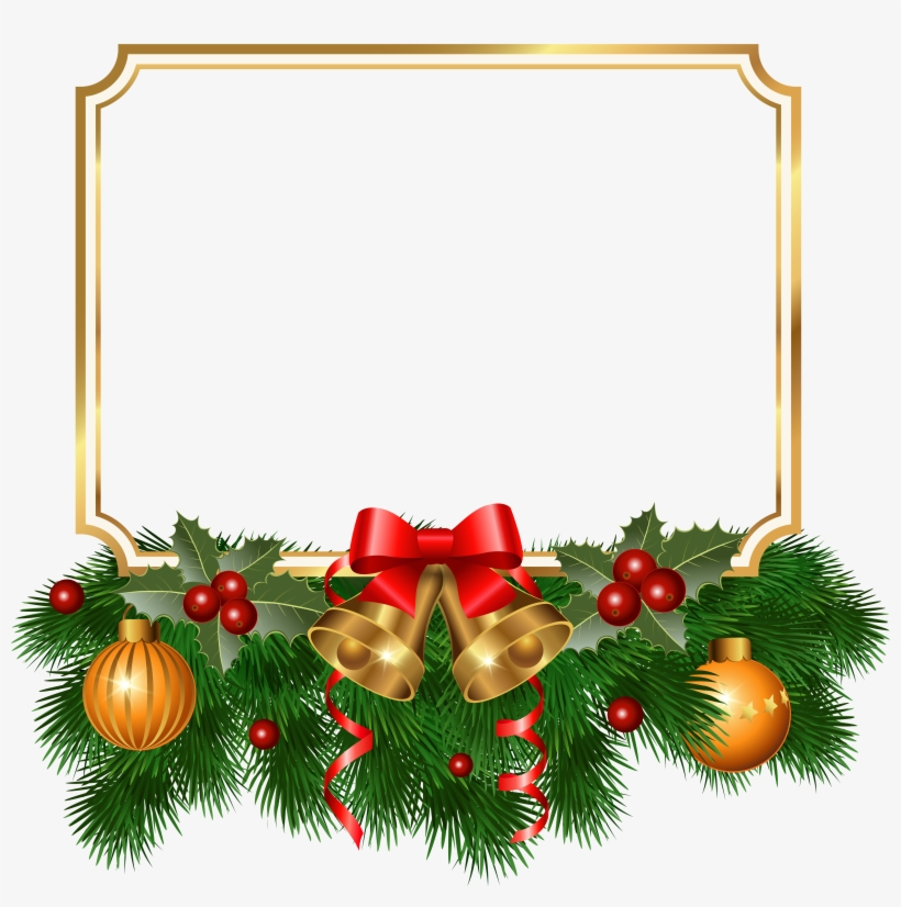 Christmas Golden Border Png Clipart Image.