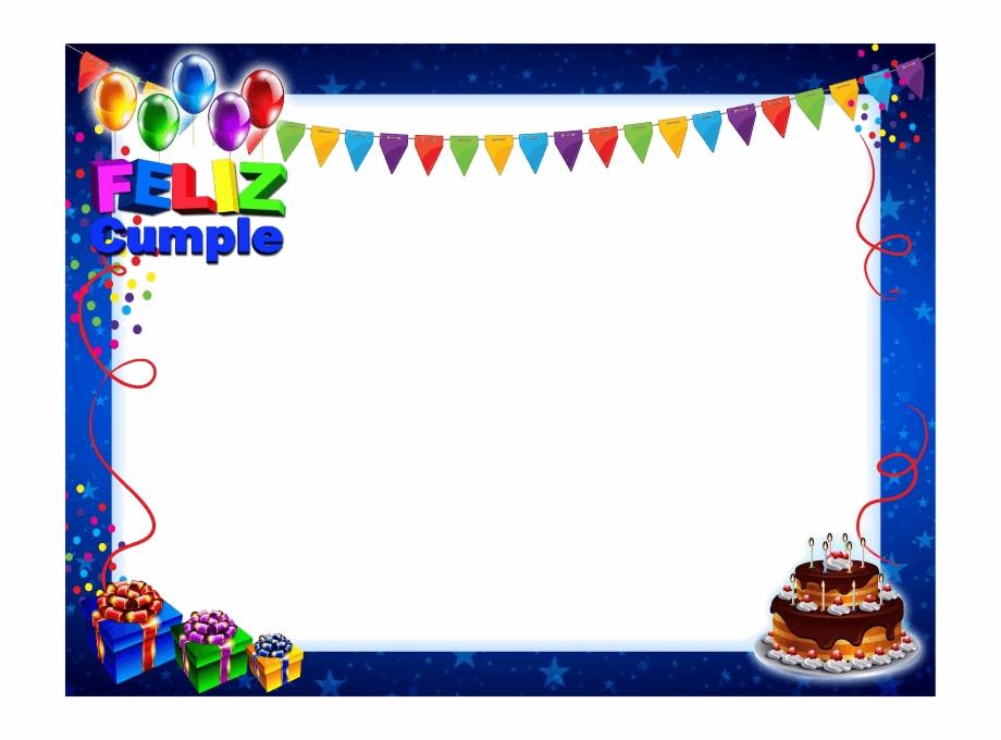 Marco De Feliz Cumpleaños Azul Con Tarta Y Regalos.
