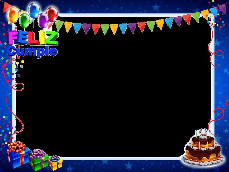 HD Marco De Feliz Cumpleaños Azul Con Tarta Y Regalos.