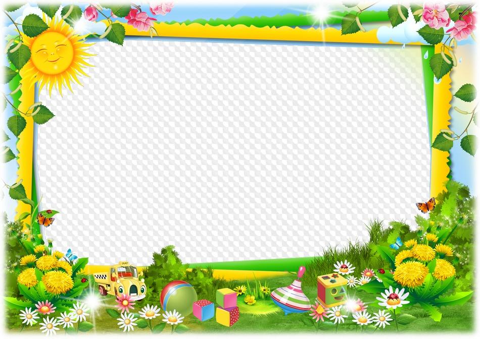 PSD, PNG, marco de fotos, juguetes para niños en césped.