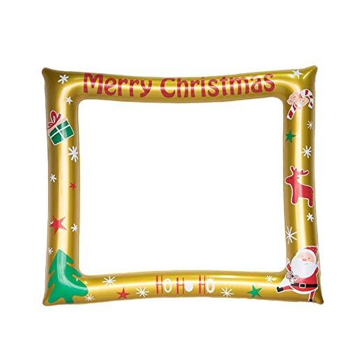 NUOBESTY Marco de fotos inflable de Navidad, marco para.
