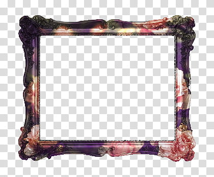 Marcos, rectangular purple and pink floral frame transparent.