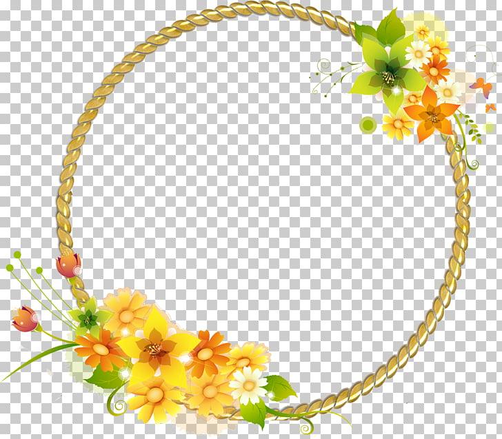 Marcos de luz, flores de marco redondo. PNG Clipart.