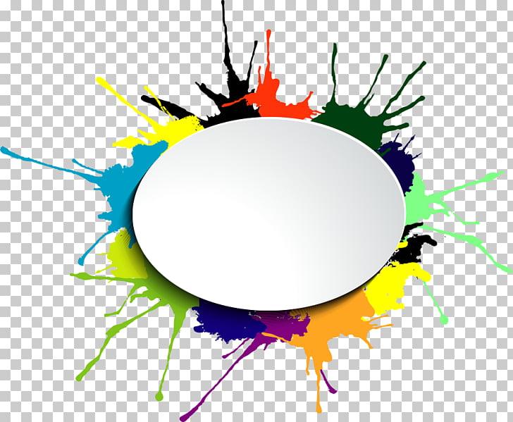 Salpicadura de pintura multicolor, acuarela, tinta de marco.