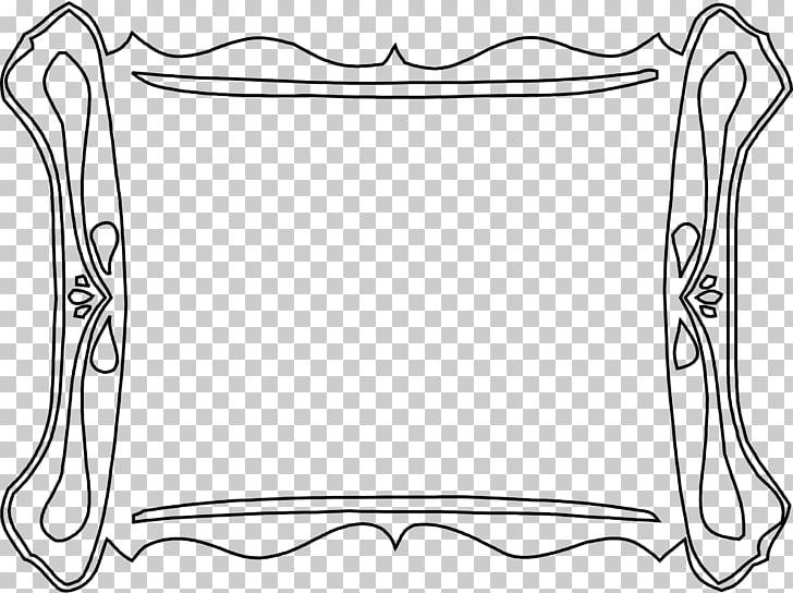 Blanco y negro, sencillo marco negro. PNG Clipart.