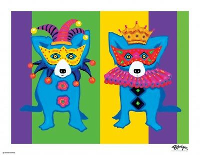"BLUE DOG ""MARDI Gras 2014"" by George Rodrigue."