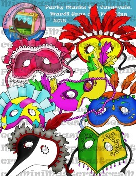 Clip Art: Party Masks for Carnevale, Mardi Gras and Fasching by  HeatherSArtwork.
