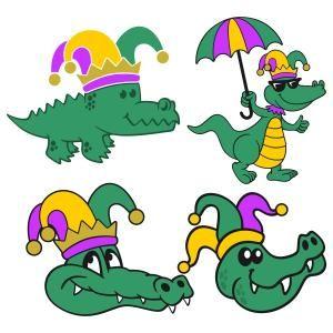 Mardi Gras Gators with Frames Monogram.