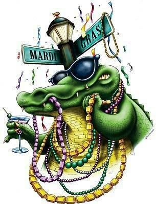 I love this! A Mardi Gras alligator holding a martini glass.