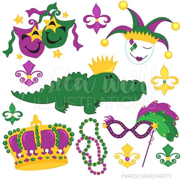 Mardi Gras Alligator Clipart.