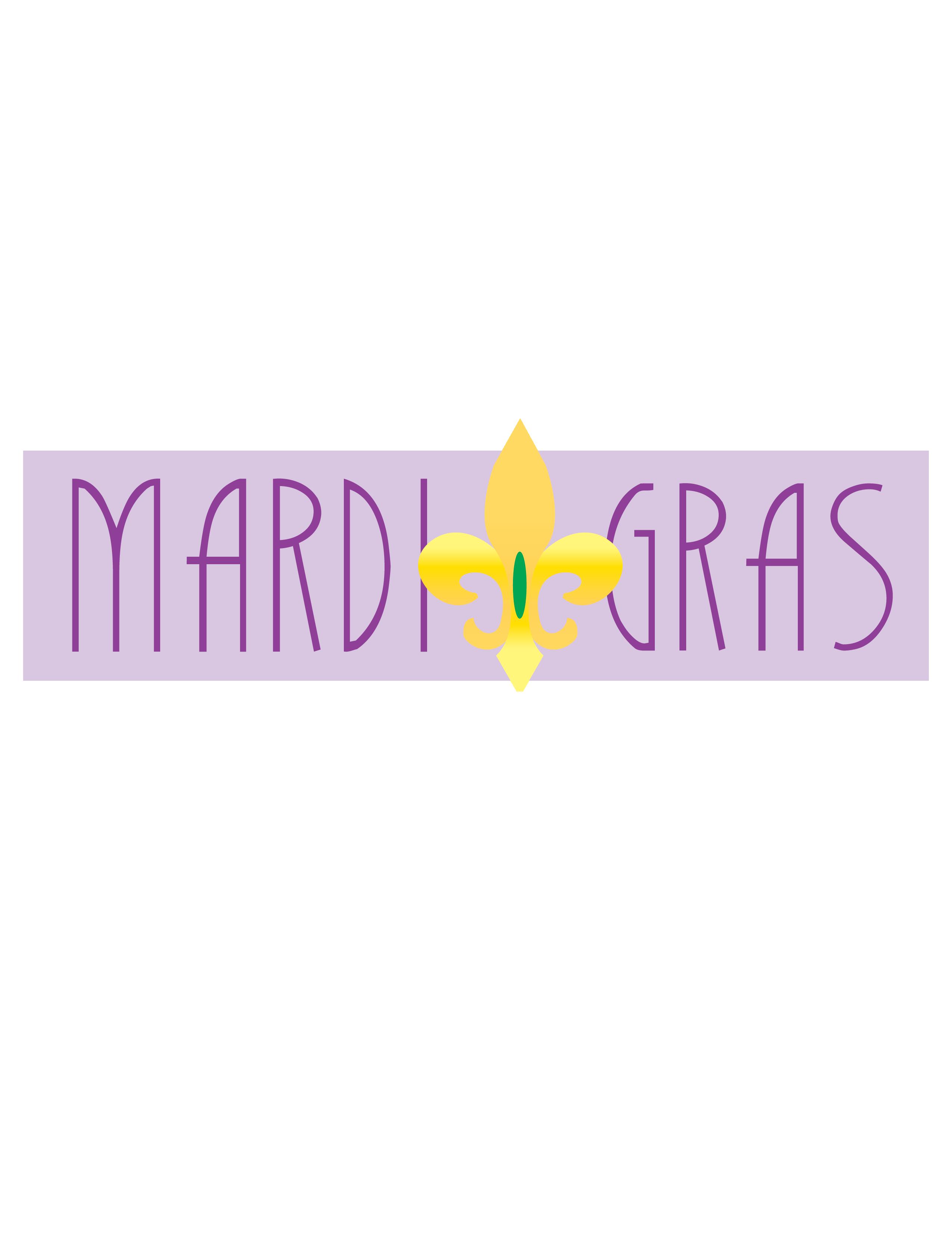 Mardi Gras Light Purple Banner Clip Art.