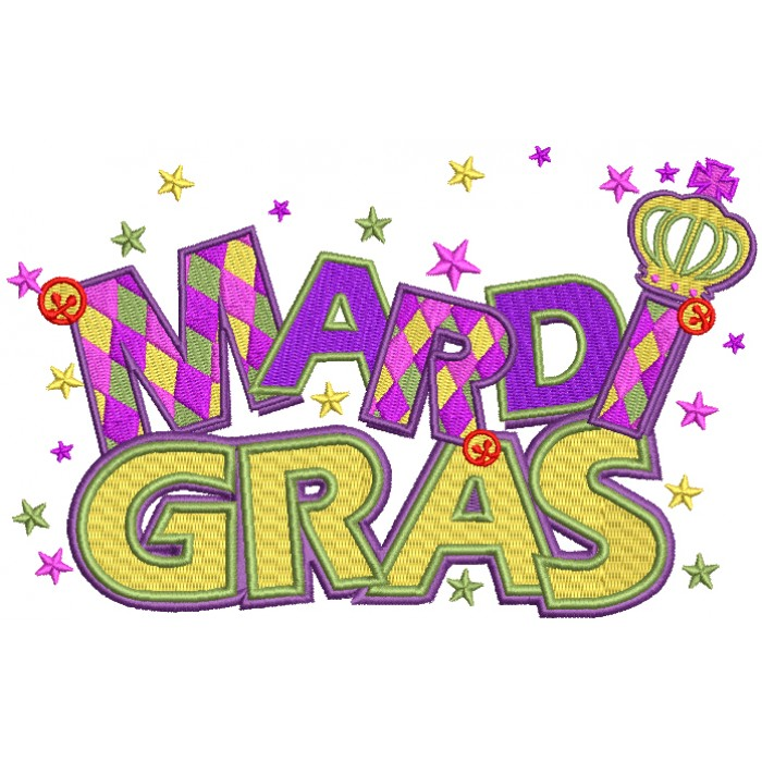 Mardi Gras Banner With Stars Filled Machine Embroidery Design Digitized  Pattern.