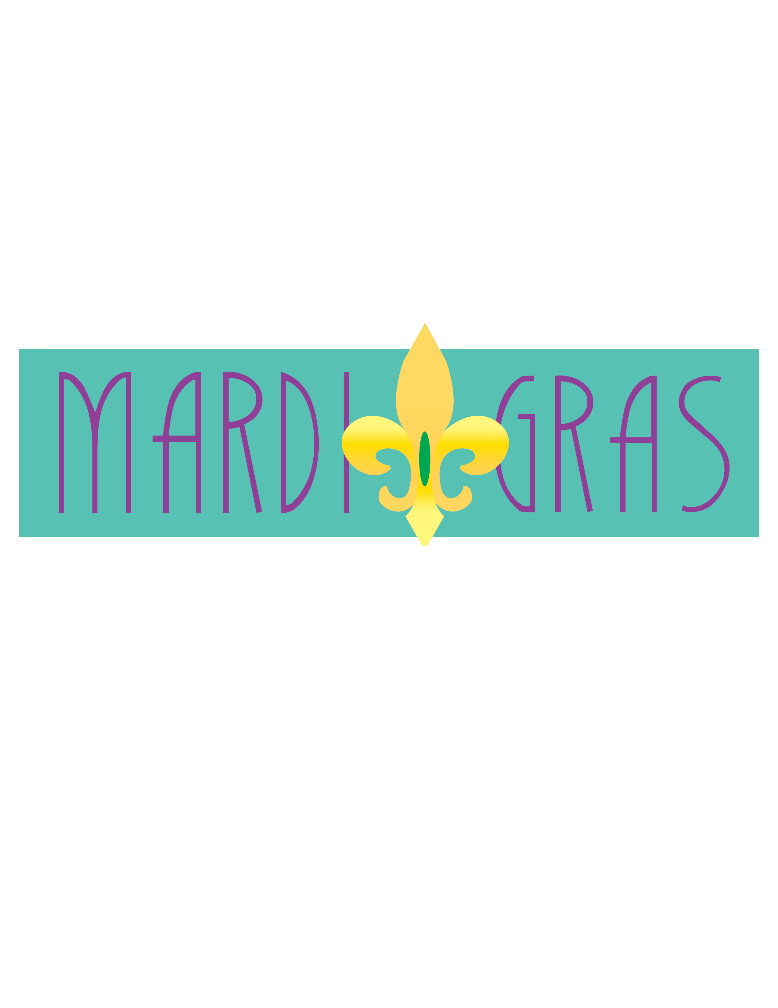 Mardi Gras Turquoise Banner Clip Art.