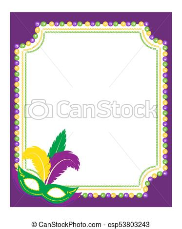 Mardi Gras beads colored frame with a mask, isolated on white background.  Template poster. Vector illustration..
