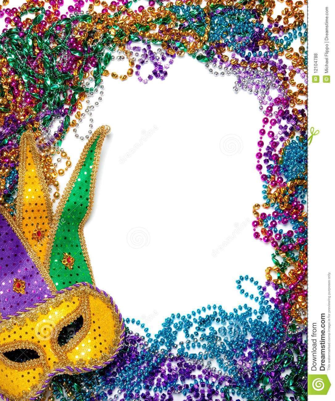Free Printable Mardi Gras Borders. Royalty Free Stock Photos.
