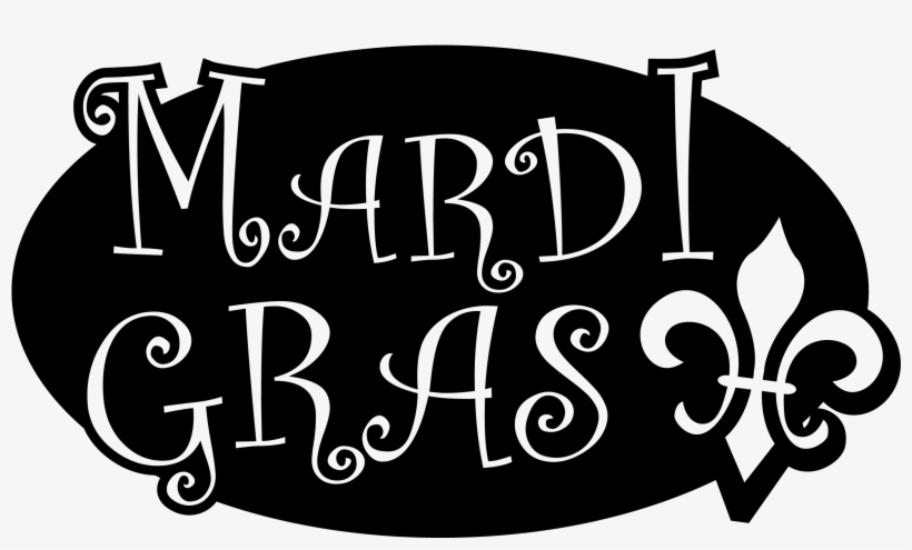 Mardi Gras Black And White Outline Clip Art.