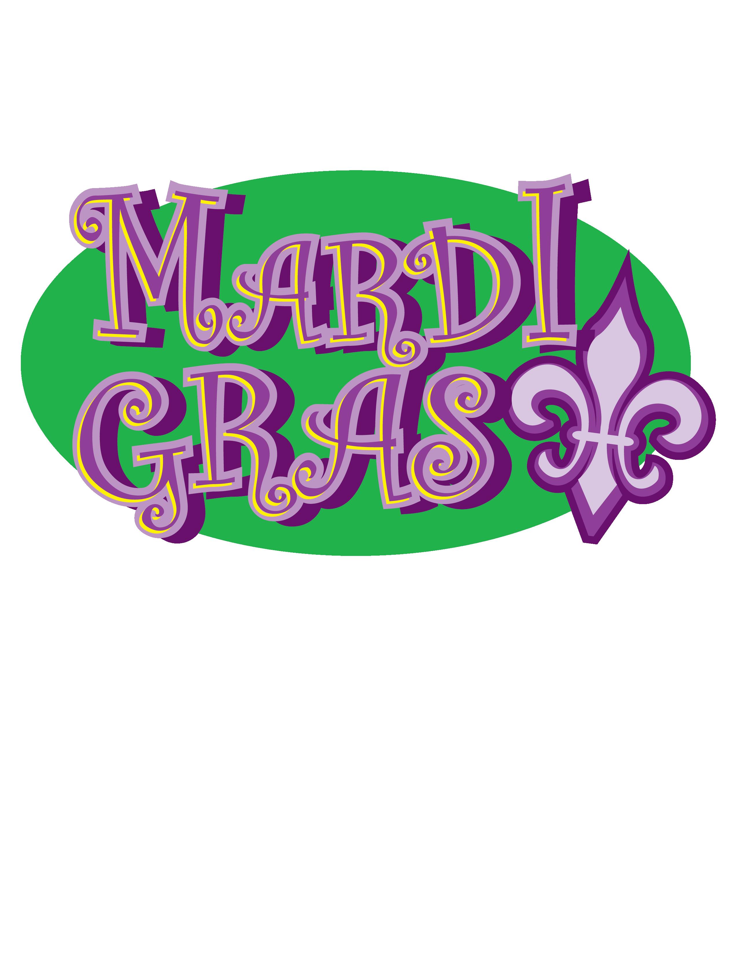 Mardi Gras Green and Purple Clip Art.