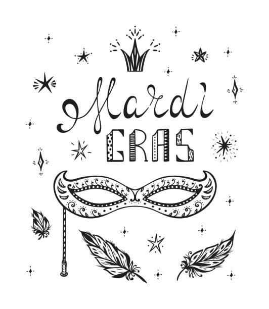 Best Black And White Mardi Gras Masks Illustrations, Royalty.