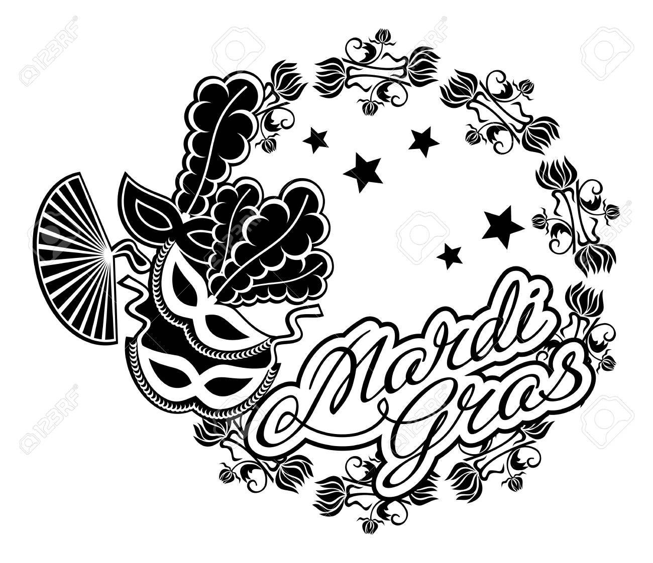 Black and white silhouette frame with carnival masks and artistic...