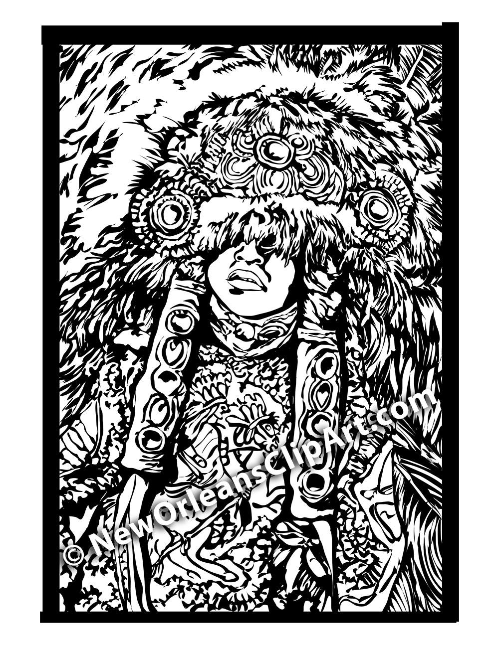 New Orleans Black & White Mardi Gras Indian Clip Art.