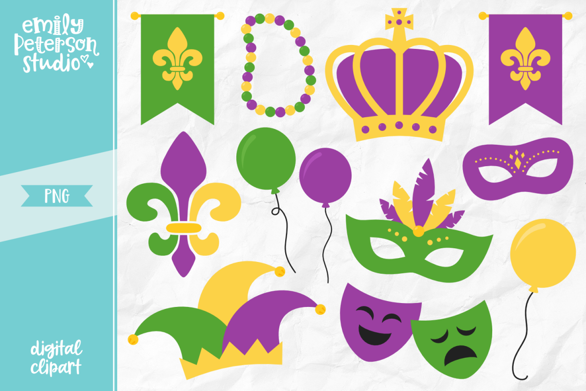 Mardi Gras Clipart Illustration PNG.