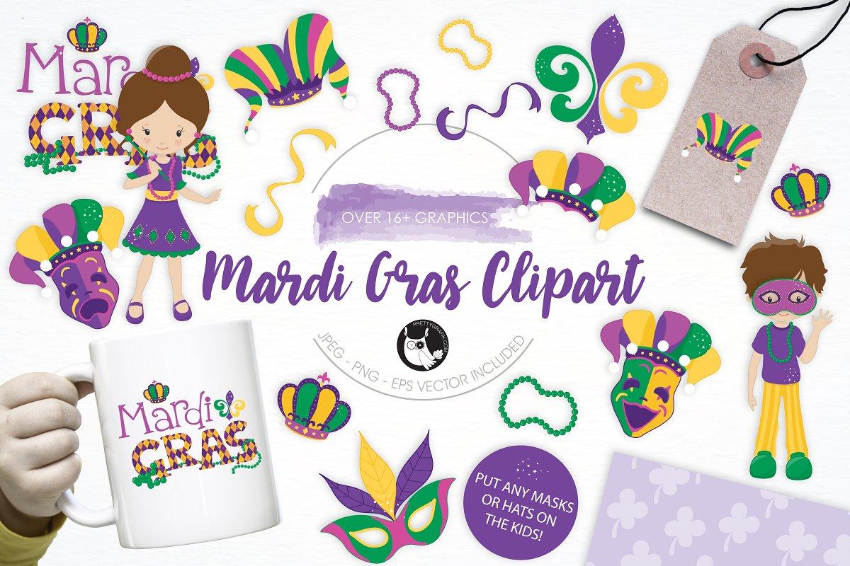Mardi Gras Clipart illustration pack ~ Illustrations.