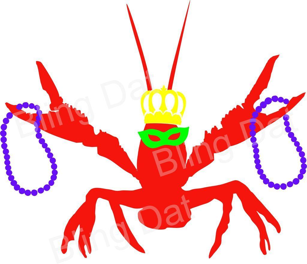 Mardi Gras Crawfish SVG Cut File.