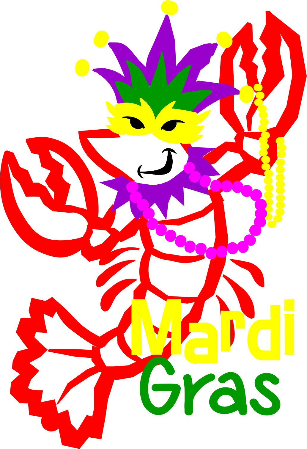 GGV 1076 Mardi Gras Crawfish SVG outline file.