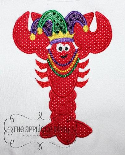 Mardi Gras Crawfish Embroidery Design Machine Applique.