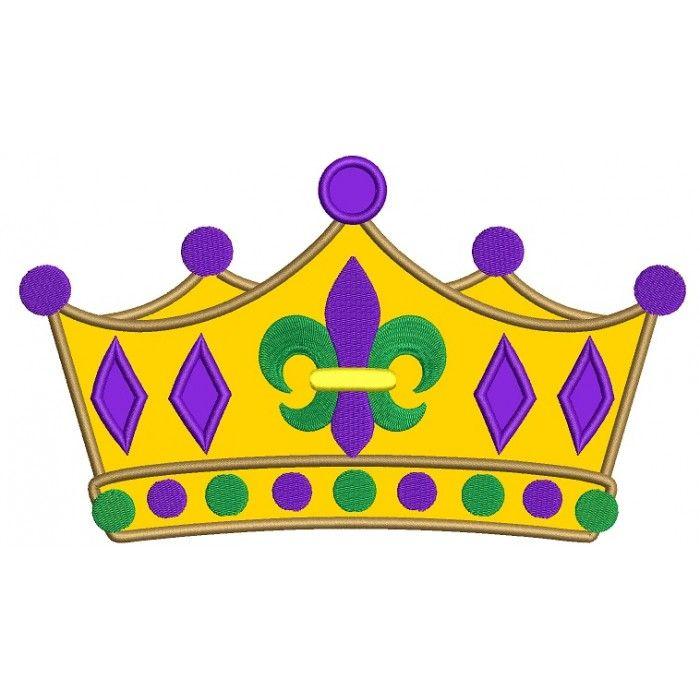Mardi Gras fleur de lis Crown Applique Machine Embroidery.