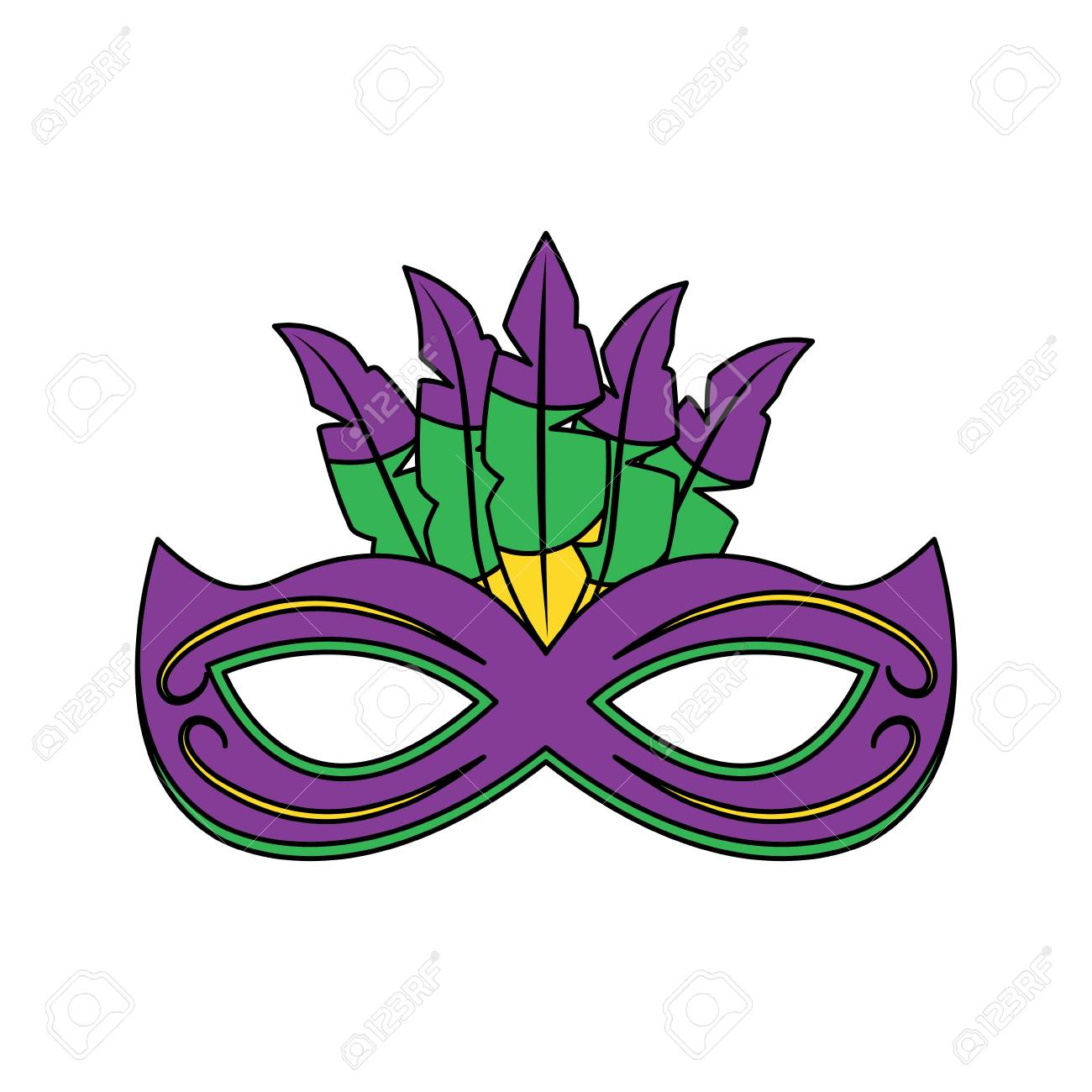 ornate mardi gras carnival mask with feathers festival vector...