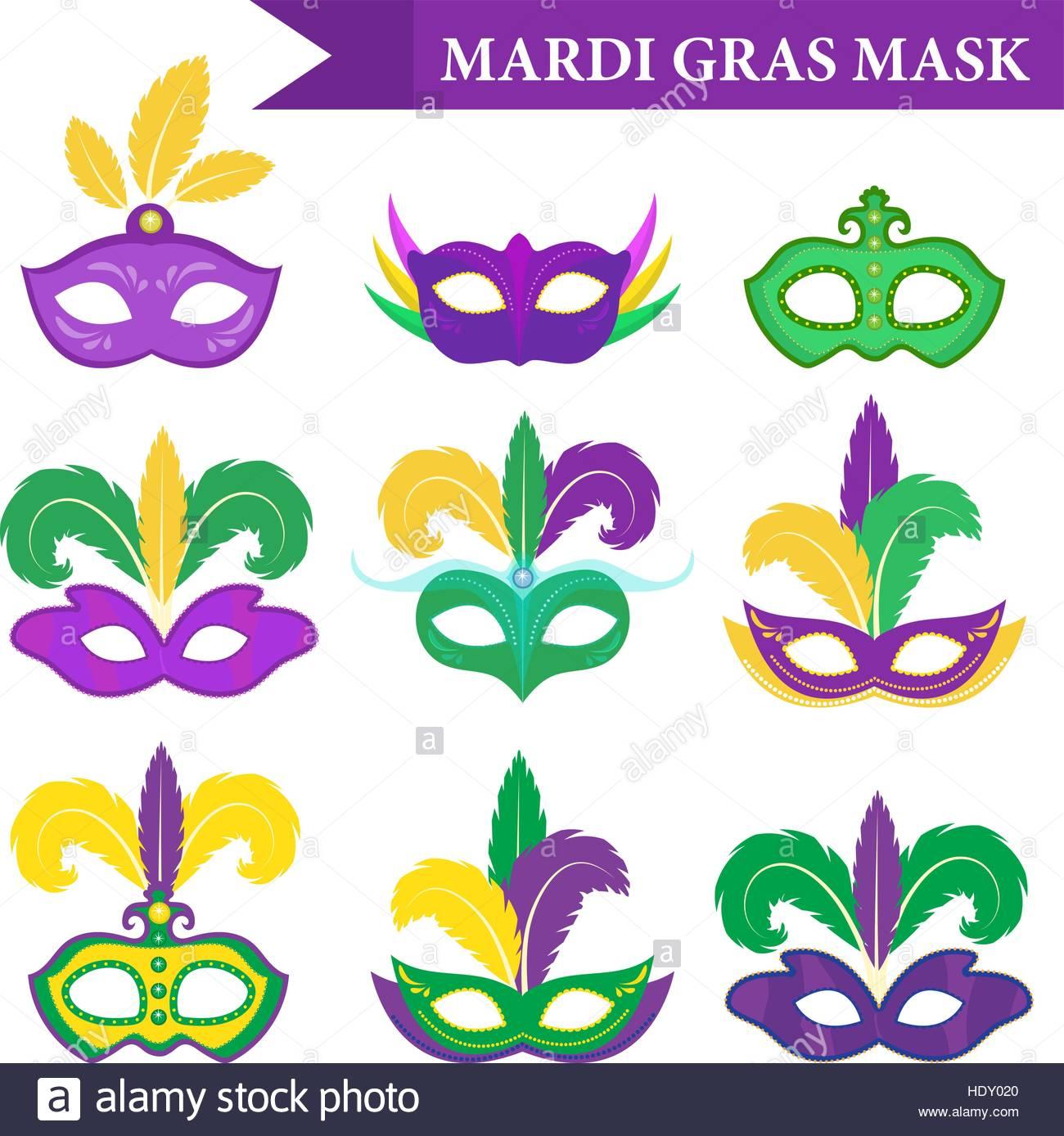Mardi Gras mask set, design element, flat style. collection.