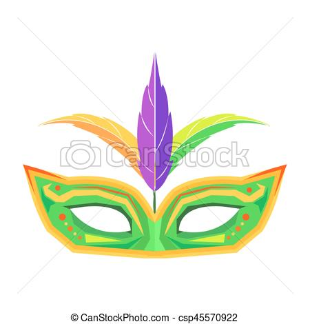 Mardi Gras Mask with Feathers Isolated Vector.