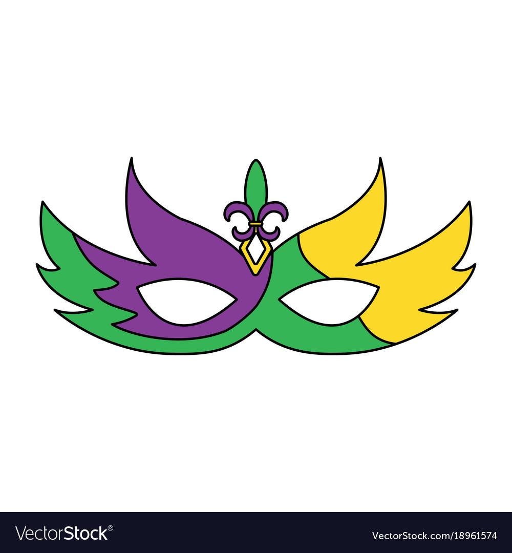 Mardi gras glitter mask with fleur.