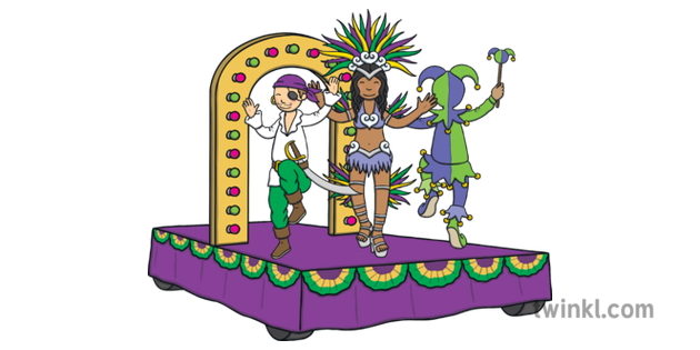 Mardi Gras Carnival Float Illustration.