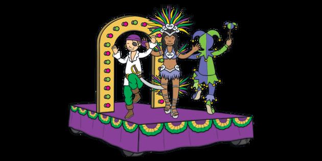 Mardi Gras Carnival Float Illustration.