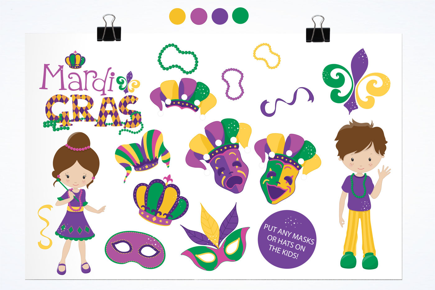 Mardi Gras Clipart graphics and illustrations By.