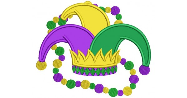 Mardi Gras Jester Hat With Beads Applique Machine Embroidery Design  Digitized Pattern.
