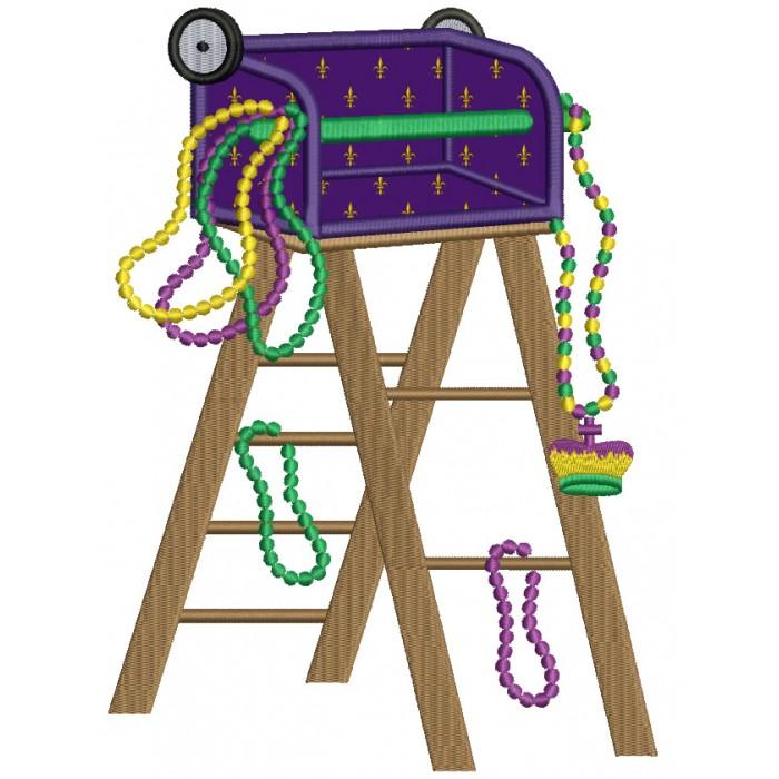 Mardi Gras Ladder Applique Machine Embroidery Design Digitized Pattern.