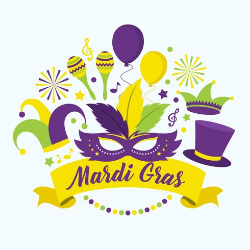 Mardi Gras Parade Vector Illustration.