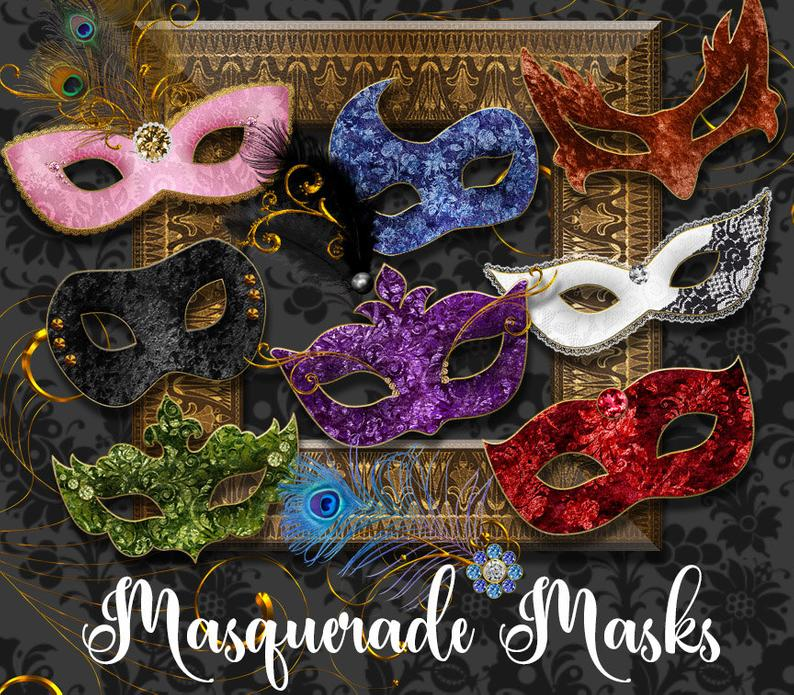Masquerade Masks Clipart, Mardi Gras mask clip art, Carnival graphics,  Venetian mask, costume party digital instant download commercial use.