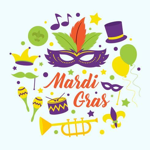 Mardi Gras Parade Vector Illustration.