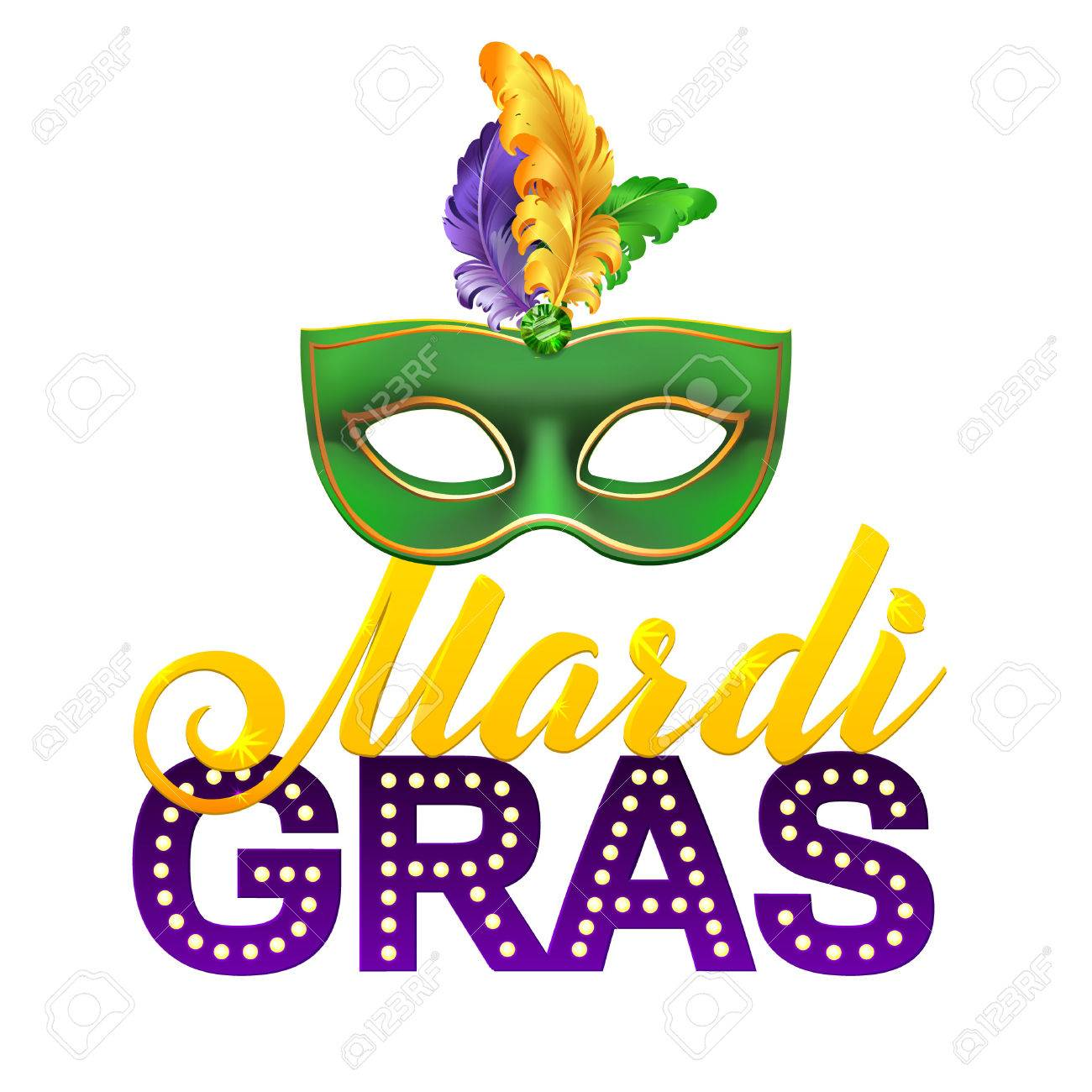 Mardi Gras Party Mask Poster. Calligraphy and Typography Card.