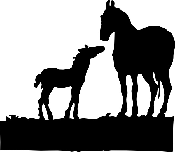 Mare And Foal clip art Free vector in Open office drawing svg.