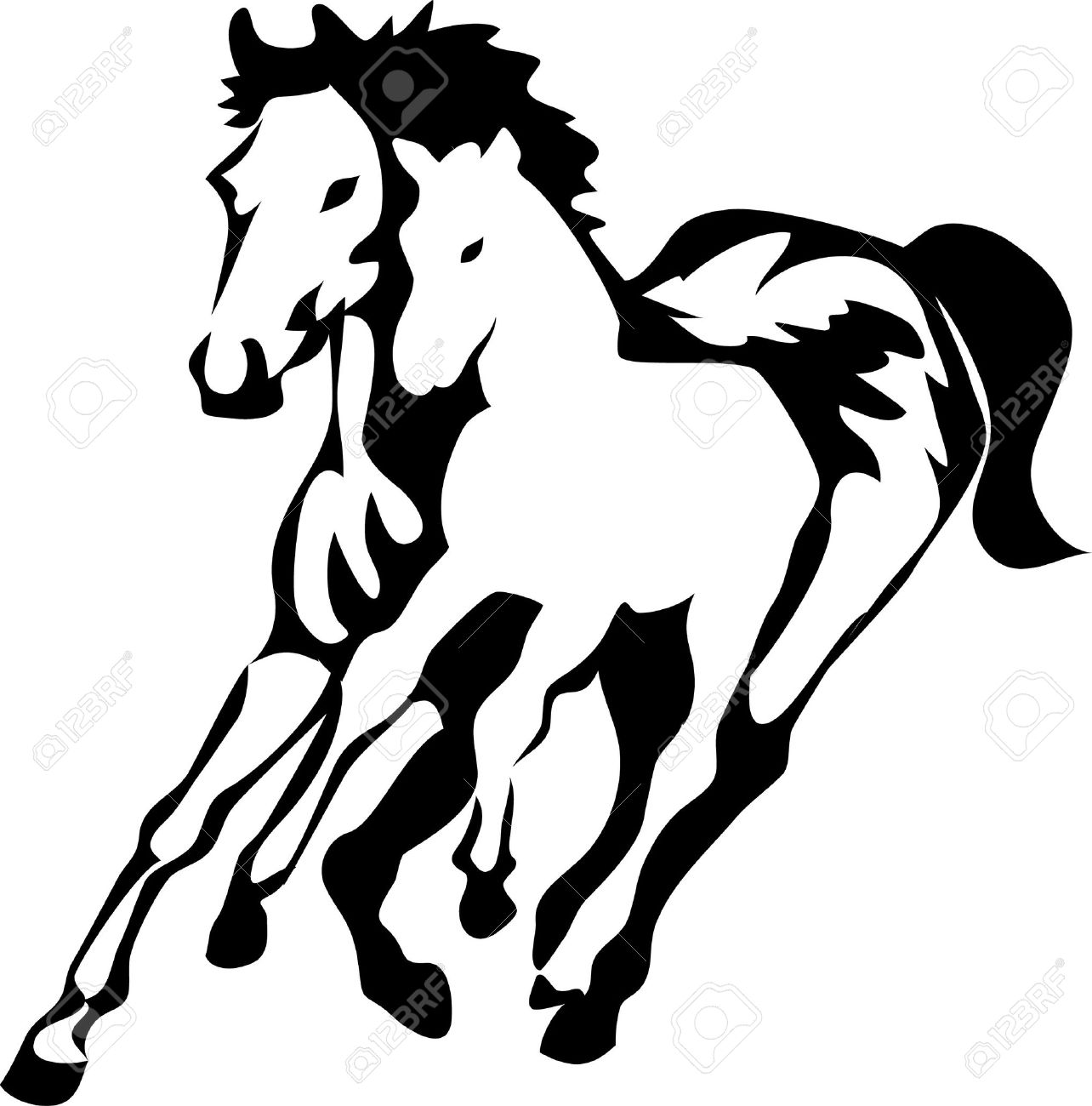 Mare With Foal Logo Royalty Free Cliparts, Vectors, And Stock.