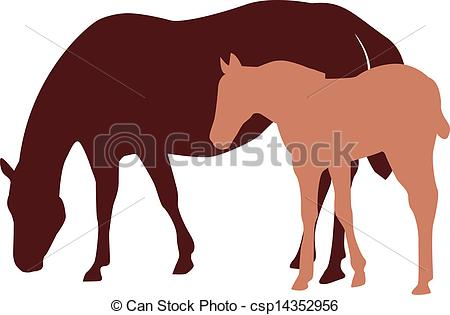 Clipart Vector of Mare and foal silhouettes with mare eating.